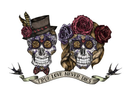 One of my lovely couples commissioned me to create a sugar skull bride and groom to feature on their wedding invitation and table numbers, inspired by Dia De Los Muertos and traditional tattoo design.