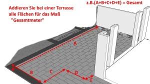 Eine Terrasse für ein Katzennetz ausmessen