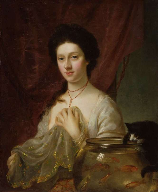 National Portrait Gallery - Pets in Portraits - Catherine ('Kitty') Fisher 1765
