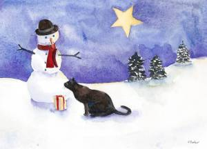 Watercolor painting of cat and snowman