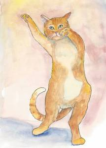 Dancing ginger cat
