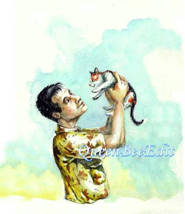 David Holding Scheherazade Kitten Up - They are Assessing Each Other - QueenBeeEdit Watermark