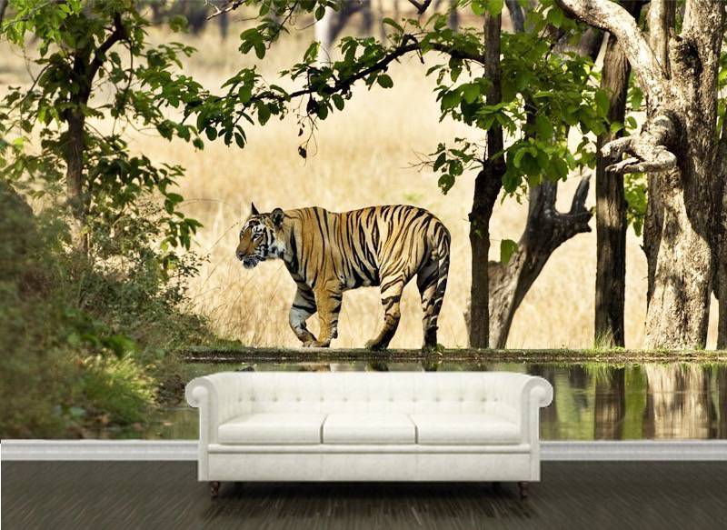 Tiger-By-Lake-Wall-Mural