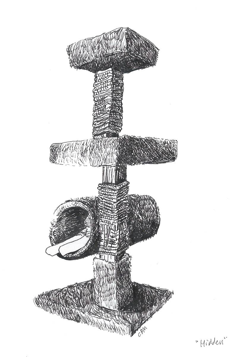 Pen drawing of cat tree.