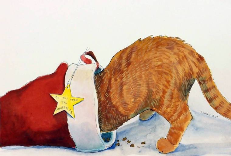 Painting, watercolor, Christmas, ginger cat