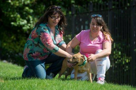 Brandy with her owner Sophia-Jayne Lye and her daughter Soe