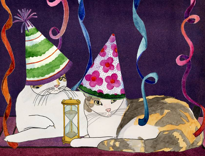 Happy New Year Cats, watercolor by Carol Parker Mittal