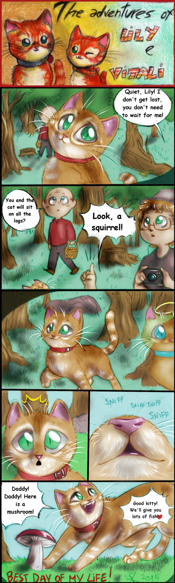Two red cats - strip 32 - Walking in the woods by FuriarossaAndMimma