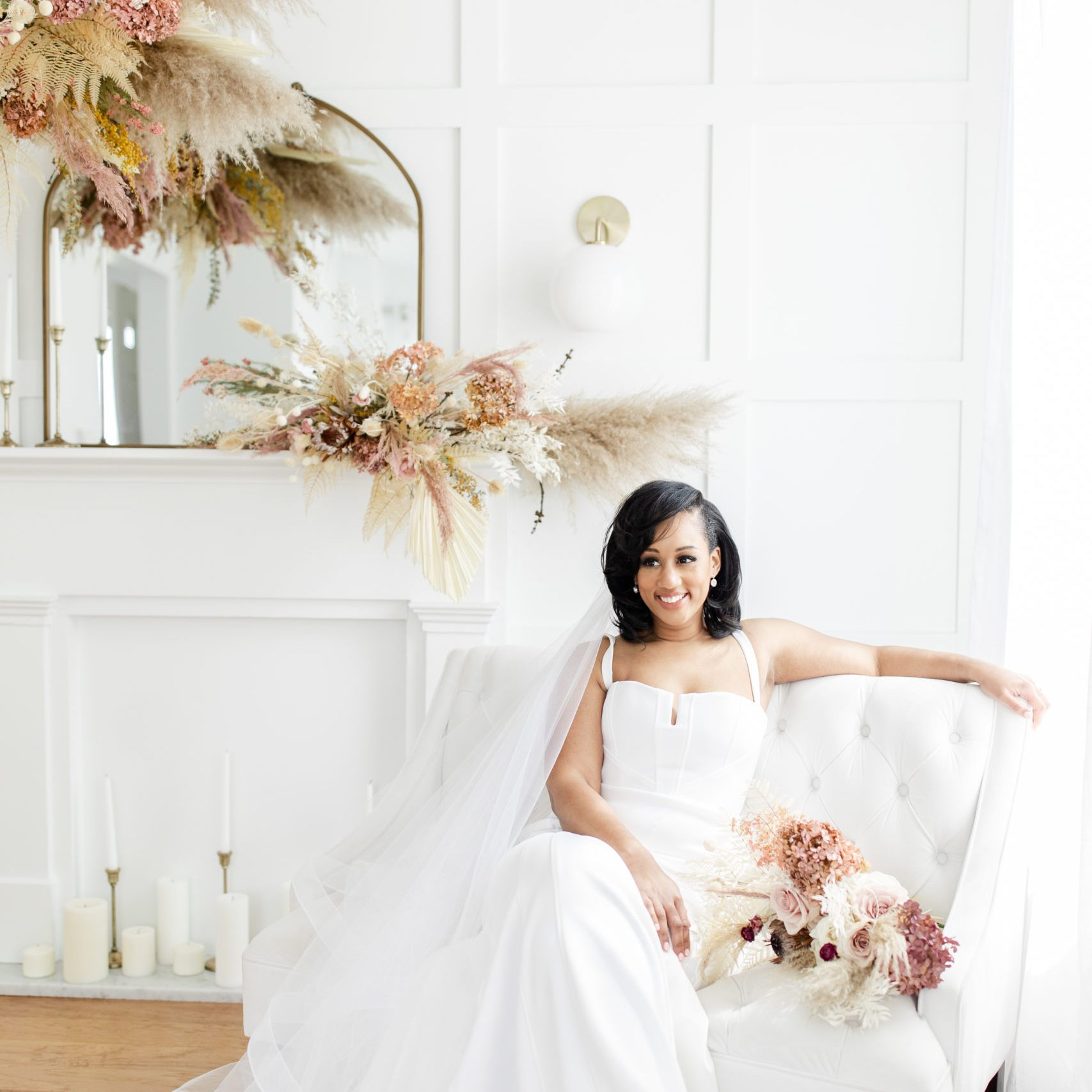 Bridal portraits in bright and airy luxury photography studio in Maple Grove, MN