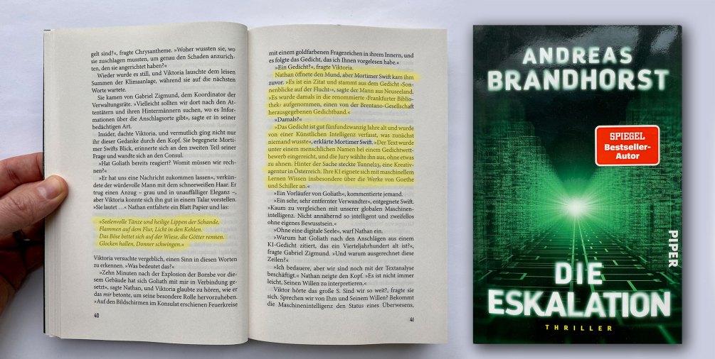 Inception! Andreas Brandhorst - Die Eskalation. Das KI Gedicht wird im Roman zitiert.
