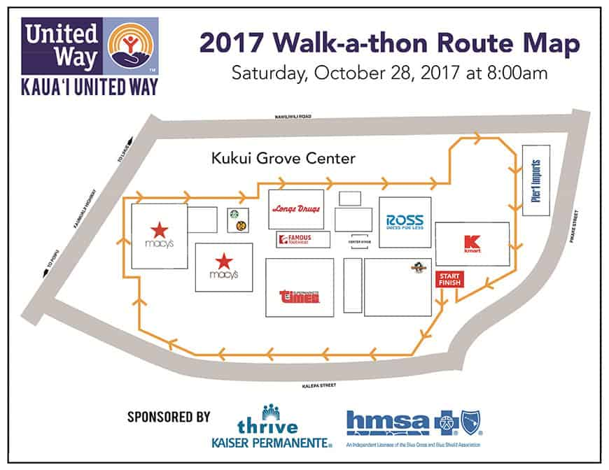 Kauai United Way WALK A THON Map