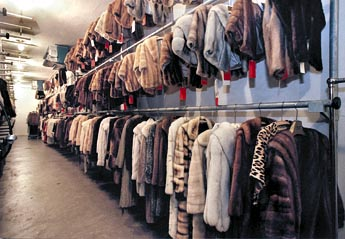 SP112695- - DELIVER TO:floridian- -11/01/2000- -st. pete- -CAPTION INFO: 3) One of the three refrigerated fur vaults at Florida Fur Cold Storage. The vaults are kept at 38 degrees with 54 percent humidity at all times. Their capacity is 15,000 garments, but presently, there are 5500 garments in storage. - -Times Photo by:CHERIE DIEZ- -Story By:Lane DeGregory- -SCANNED BY:- - RUN DATE: