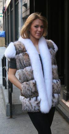 Cat Lynx Vest White Fox Fur Trim