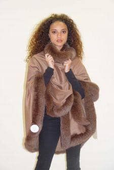 Camel Cashmere Cape Marching Fox Fur Border