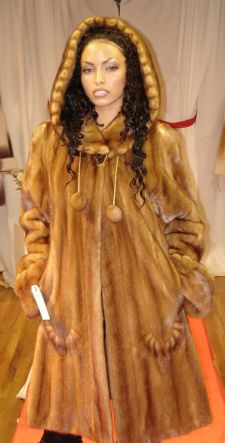Sexy Designer Whiskey Mink Swing Fur stroller Inserted Swirls Hood fringes