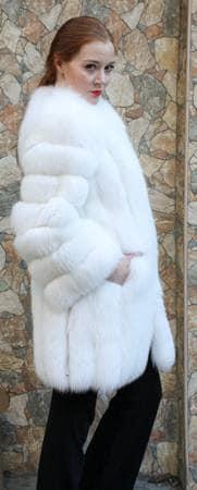 White Fox Fur Stroller Diagonal Sleeves