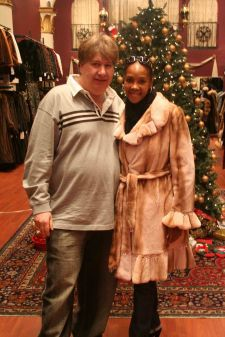 Vivica Fox Pink Mink Jacket Trimmed in Pink Sable Marc kaufman Furs NYC