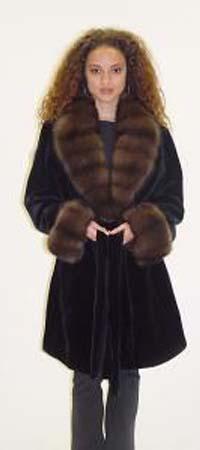 Black Sheared Mink Strollers Sable Collar Cuffs Fur Belt