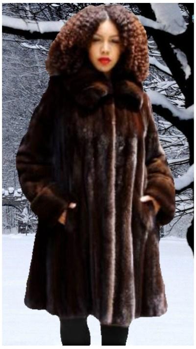 plus size mahogany mink fur stroller