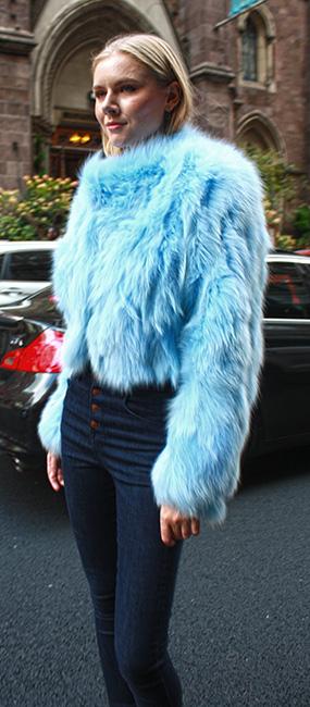 Powder Blue Fox Fur Jacket