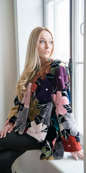 Zuki Furs Floral Sheared Beaver Jacket