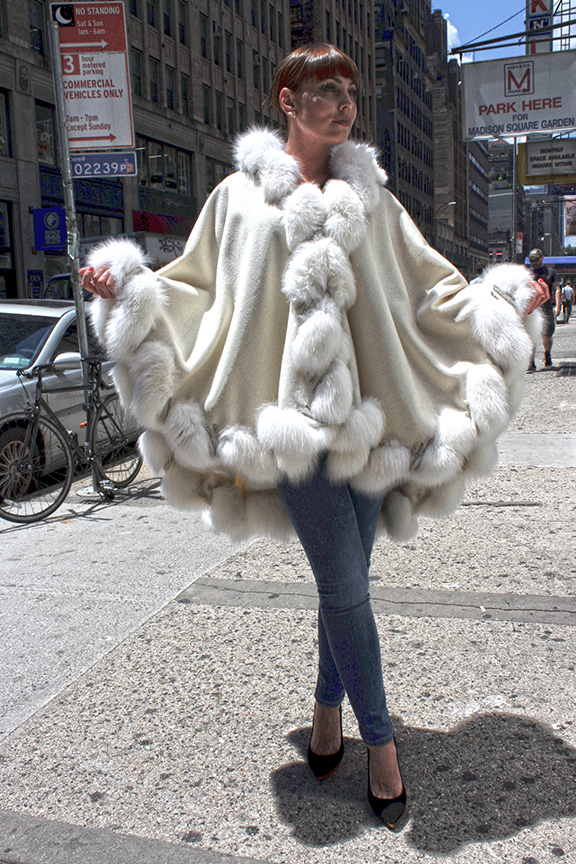 Ivory Cashmere Cape With Fox Fur Trim and Hood