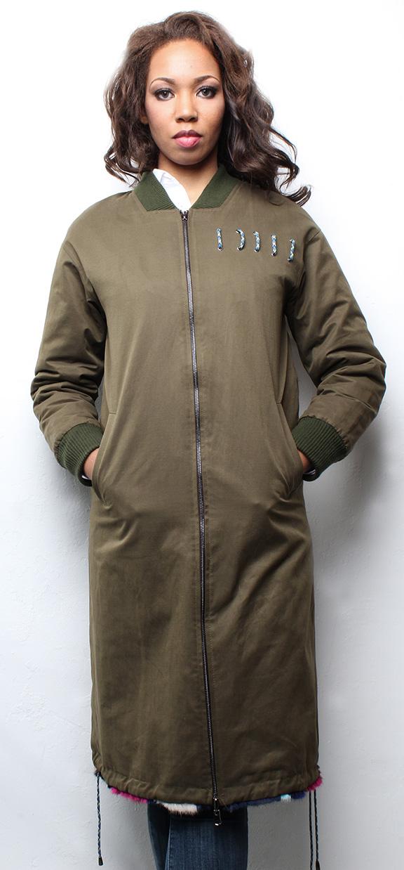 Multi Colored Reversible Sheared Mink Coat with Poplin Fabric