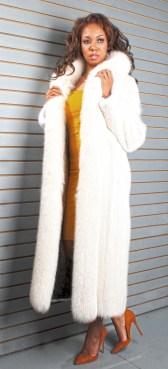 WHITE MINK COAT FOX TUXEDO