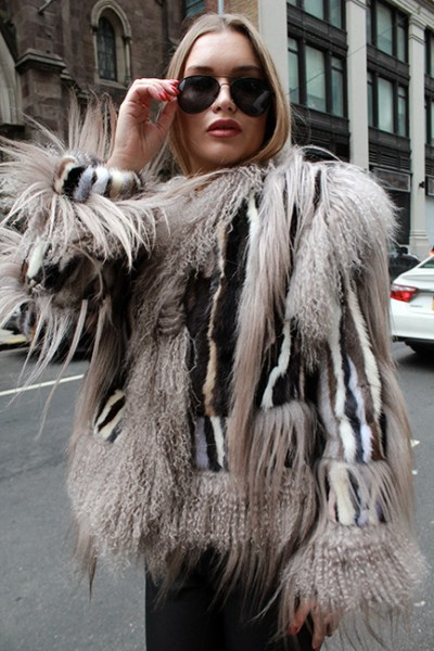 Colorful Striped Mink Fur Jacket Tibetan Lamb Fur Trim