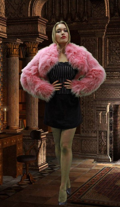 Pink Fox Fur Jacket