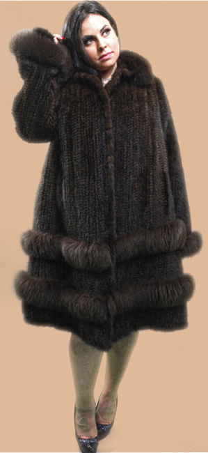 Plus Size Brown Knit Mink Stroller Matching Fox