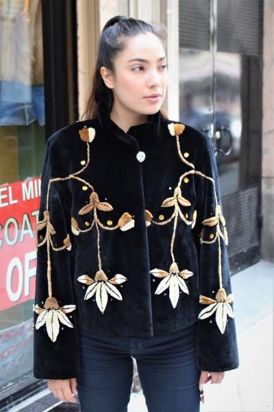 Zuki Sheared Beaver Jacket Floral