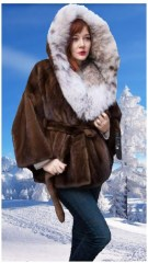 demi mink cape with a Canadian lynx hood