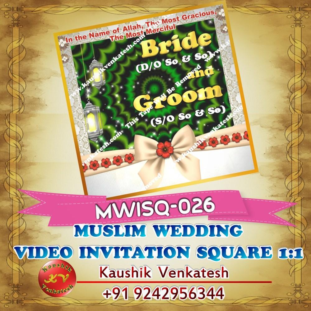 Square Video of Muslim Wedding Invitation for Mobile