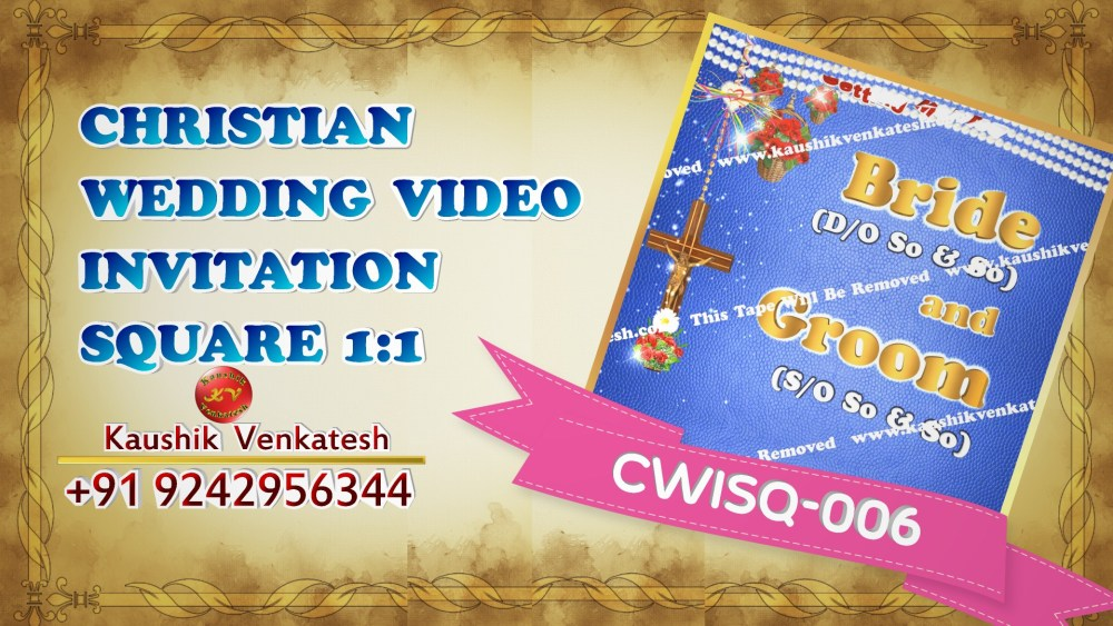 Square Video of Christian Wedding Invitation for Mobile