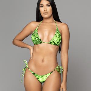 Tango neon green snake print bikini de dos piezas