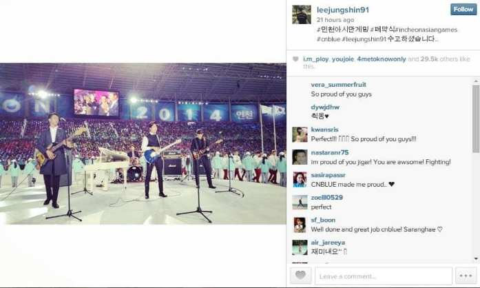 CNBlue_Junshin Instagram_Incheon Asian Games