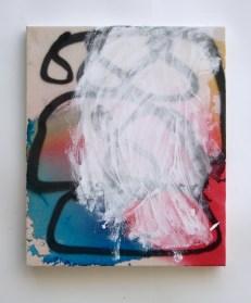 "Tiers, 2013, acrylic and acrylic spraypaint on canvas, 24"" x 20"""