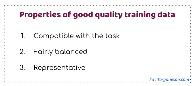good quality training data - properties