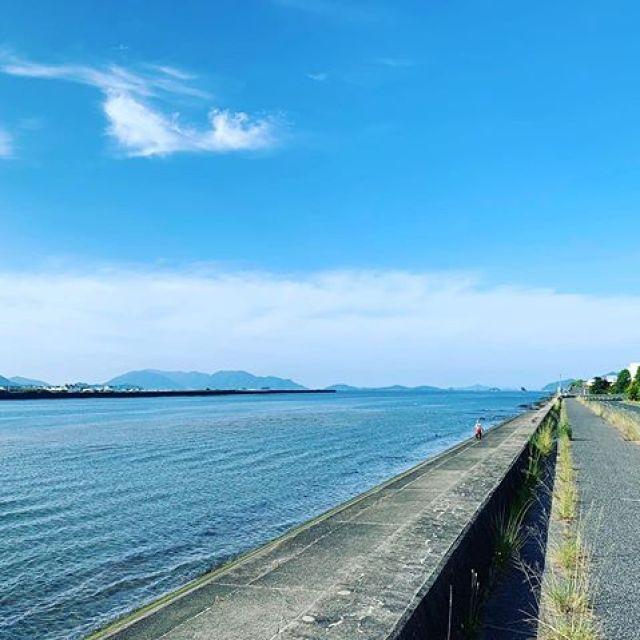 朝ラン、今日もいい天気。いやー、気持ちいい五月晴れ。と思ったら、もう6月よね!#唄うたいカワムラ