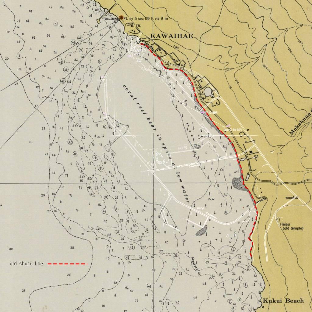old kawaihae beach harbor outline