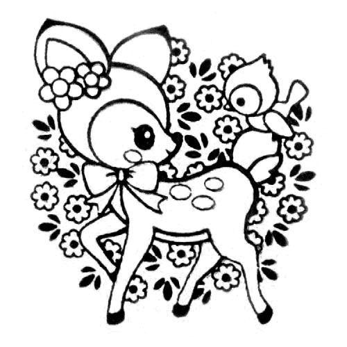 cute deer stamp  bird flowers kawaii japan  stamps