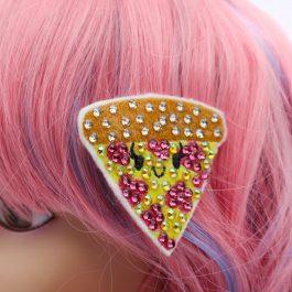 Kawaii Pizza Cute Crystal Hair Clip