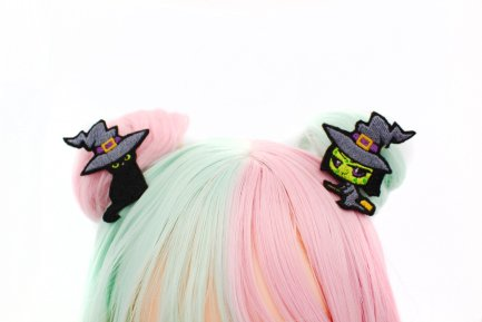 Kawaii Witch And Black Cat Hair Clip Set