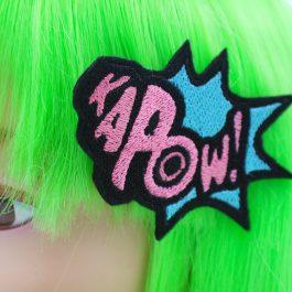 Superhero Hair Bow Kapow! Hair Clip – Pink and Blue