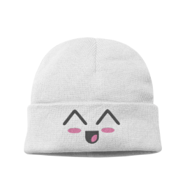 Kawaii Laughing Face Knit Beanie Hat – Womens Winter Hat