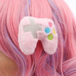 Kawaii Pink Video Game Controller Plush Hair Clip Set