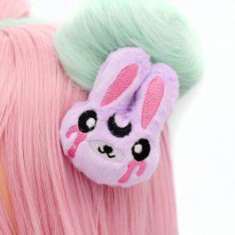 Kawaii Pastel Goth Bunny Plush Hair Clip