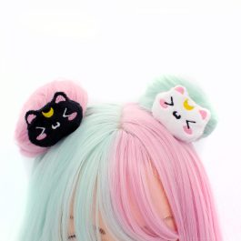 Kawaii Black And White Moon Cat Anime Plush Hair Clip Set