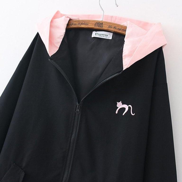 Black and pink Jacket Coat Cat Heart